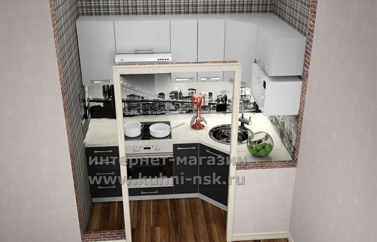 кухонный гарнитур эконом класса в квартире студии
