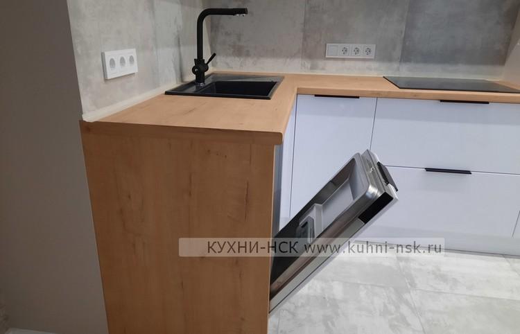белая кухня дерево Дуб Бунратти